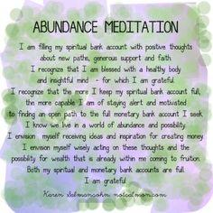 Abundance Meditation - Karen Salmansohn