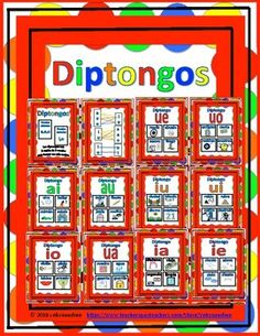 """This is a set of posters and cards to display and teach """"Diptongos"""". They could even be used in grammar notebooks, small centers or guided reading mini lessons."""