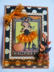 Halloween card using image and papers from The Gecko Galz and some Really Reasonable Ribbon