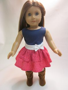 18 inch American Girl Doll Clothes Spring by IndustriousDog, $10.00 American Girl Crafts, American Doll Clothes, Ag Doll Clothes, Doll Clothes Patterns, Doll Patterns, Spring Outfits, Girl Outfits, America Girl, Girl Dolls