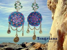 India  Hand-Painted Unique Earrings with Colored by Tengriana