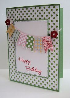 Make a flag line from your scrap papers, cutting each one like a small banner.  Secure the end of the line with buttons.  The card front can be several layers as seen here, or layers and colors of your choice.  This one is a colorful handmade birthday card.