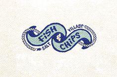 Fish n Chips-Logo - Logo inspiration - Recycling Nautical Logo, Nautical Design, Nautical Style, Logo Branding, Branding Design, Logo Design, Brand Identity, Fish And Chips, Logo Inspiration
