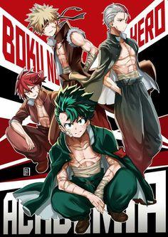 Boku no hero académia / Bakugou Katsuki / Todoroki Shouto / Midoriya Izuku / Kirishima Eijirou