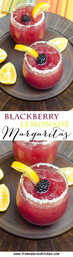 This festive, refreshing margarita includes fresh blackberry puree, lemonade, and tequila. Tart, lightly sweet, and delicious. A great warm weather party drink.