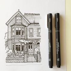 Another Quick Sketch Art Drawing Pen Sketch Illustration Linedrawing Architecture eine andere schnelle skizze art drawing pen sketch illustration strichzeichnung archite. House Sketch, House Drawing, Ink Drawings, Drawing Sketches, Drawing With Pen, Croquis Drawing, Drawing Art, Arte Sketchbook, Sketchbook Ideas