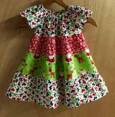 Christmas Tiered Dress, size 12 months by SewMeems on Etsy