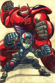 Big Hero 6's BayMax & Hiro fanart on my @deviantart emmshin.deviantart.com