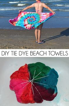 Tie Dye Beach Towel Have the most unique beach towel by the water! These DIY tie dye beach towels are easy, fun and so colorful!Have the most unique beach towel by the water! These DIY tie dye beach towels are easy, fun and so colorful! Ty Dye, Tie Dye Party, Tie Dye Crafts, Tie Dye Techniques, How To Tie Dye, Tie Dye Shirts, Band Shirts, Tie Dye Patterns, Diy Clothing