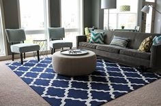 This rug - Tuscan Terali Moroccan Trellis Navy Rug ($249 for 5'x8', from RugsUSA)