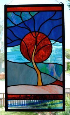 Coucher de soleil orange panneau de fenêtre par stainedglassfusion