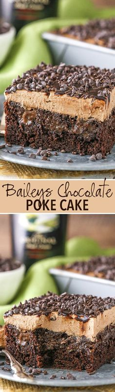 Baileys Chocolate Poke Cake - FULL of Baileys flavor!