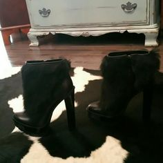 Brian Atwood fox fur and black leather ankle boots Fabulous never worn sky high Brian Atwood ankle boots!!!! Purchased them a while ago just haven't gotten around to wearing. They are black leather and black fox fur with gorgeous metal plating on the heel and toe. 6 inch heel with 1.5 inch platform. Very comfortable and extremely chic! I'm an 8.5 in US sizing and usually wear a 39.5 in euro and these fit perfectly. Make me an offer!!!! No lowballs please these are already extremely…