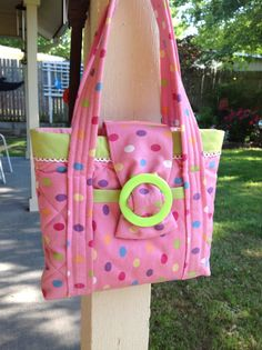 Quilted Girls Small Tote Bag Purse Pink Polka Dot Lime Green Trim