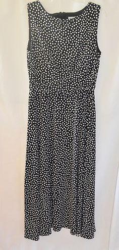 Coldwater Creek Size 12 Black White Polka Dot Long Dress Full Skirt | eBay
