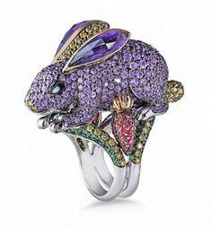 Discount Jewelry Purple Rabbit Ring from ZorabCreation - Gems Jewelry, Jewelry Art, Silver Jewelry, Jewelry Accessories, Fine Jewelry, Jewelry Design, Yellow Jewelry, Do It Yourself Jewelry, Discount Jewelry