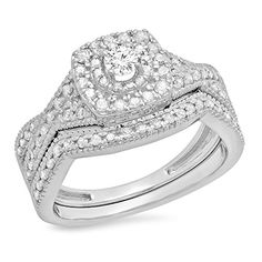 0.60 Carat (ctw) 14K White Gold Round Diamond Bridal Swir...