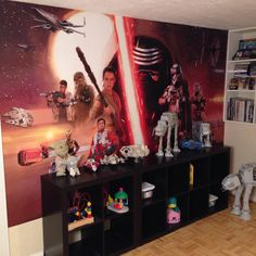 The most epic wall ever. RoomMates Decor Star War Removable Wall Mural! Activate with water and apply to the wall!