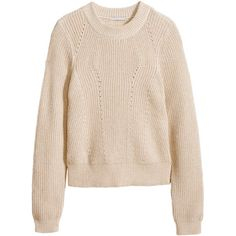 H&M Knitted jumper (595 RUB) ❤ liked on Polyvore featuring tops, sweaters, h&m, light beige marl, pink sweater, jumper top, pink top, marled sweater and beige top