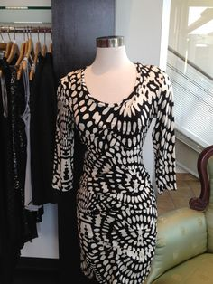 "12/6: Can you say mosaic leopard? We say mosaic madness! Diane said ""wrap it up!"" She is traveling to the Keys for the holidays and intends on wearing this Nicole Miller, easy packing dress, for Christmas eve. Have a great trip Diane!!"