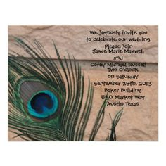 Shop Peacock Feathers with Bricks Wedding Invitation created by Peacocks. Peacock Wedding Invitations, Custom Invitations, Wedding Stuff, Our Wedding, Peacock Feathers, Bridal Shower Decorations, Peacocks, Bricks, Personalized Wedding