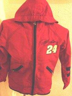 JEFF GORDON NASCAR YOUTH WINDBREAKER RAIN JACKET HOODED SZ MEDIUM #24 RED  #CHASEAUTHENTICS #BasicJacket