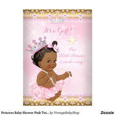 Princess Baby Shower Pink Tutu Gold Tiara Ethnic 5x7 Paper Invitation Card