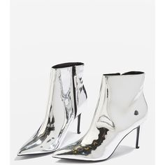 Topshop Mimosa Metallic Ankle Boots (€74) ❤ liked on Polyvore featuring shoes, boots, ankle booties, silver, topshop booties, metallic bootie, high heel booties, metallic boots and bootie boots
