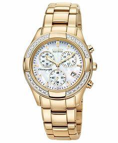 Citizen Watch, Women's Chronograph Regent Eco-Drive Diamond Accent Rose Gold-Tone Stainless Steel Bracelet 30mm FB1223-55D