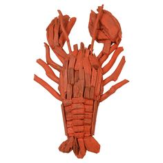 Driftwood Lobster Decor in Red