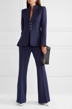 Navy stretch-crepe Concealed button, hook and zip fastening at front polyester, elastane; Suit Fashion, Look Fashion, Fashion Outfits, Womens Fashion, Classy Work Outfits, Casual Outfits, Lawyer Outfit, Pantsuits For Women, Professional Outfits
