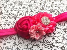 Hot pink Baby Headband Baby hair bow flower by BabyBloomzBoutique, $10.95