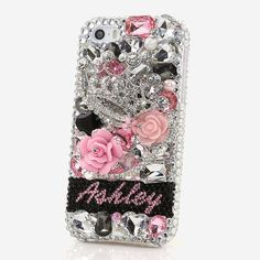 iPhone 7 6s 5s 4s plus / Samsung galaxy S7 S6 S5 edge Note / Handcrafted 3D Case Cover Luxury Crystal Silver Diamond Crown Rose_PN1053