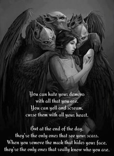I shape my demons. I embrace the darkness when I'm alone. My demons don't help me anymore. They're too afraid of me. Inner Demons, Dark Quotes, Edgy Quotes, Small Quotes, Random Quotes, Mood Quotes, Dark Thoughts, Random Thoughts, How I Feel