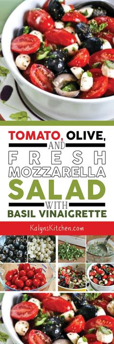 Tomato, Olive, and Fresh Mozzarella Salad with Basil Vinaigrette has all the flavors of summer and you can make this with cut-up pieces of Mozzarella if you can't find the Mozzarella Pearls I used! Salad Recipes, Keto Recipes, Vegetarian Recipes, Cooking Recipes, Healthy Recipes, Vegan Meals, Mozzarella Salat, Fresh Mozzarella, Vinaigrette