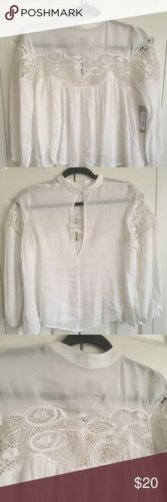 Long Sleeved Sheer Top This is a sheer detailed eyelet top with peek a boo chest floral detail. Lizard Thicket Tops Blouses