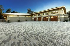 Upgrade your driveway with Tremron Plank pavers in blended tones. Brick Paver Driveway, Concrete Pavers, Driveway Design, Patio Design, Tampa Florida, Jacksonville Fl, Hardscape Design, Outdoor Living, Outdoor Decor