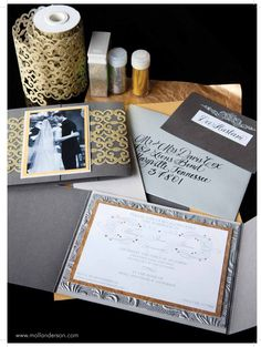 Post Wedding Party Invitation:  To celebrate the new couple, we used a picture from the wedding on the front of the hand made invitation and incorporated silver and gold paper and glitter to coordinate with the colors of the party.