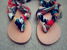 DIY Gladiator sandals. Love this idea, I have so many pairs of flip flops floating around.