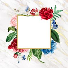 Floral square frame on a marble background vector Wedding Cards, Wedding Invitations, Butterfly Invitations, Framed Wallpaper, Floral Banners, Geometric Wedding, Floral Border, Flower Backgrounds, Floral Illustrations