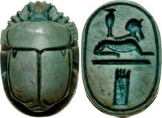 """New Kingdom. Circa 1550-1075 BC. Green glazed steatite scarab (13x9mm). Deeply carved back and base, the latter engraved with a Sphinx and signs meaning """"Praise the Lord of the Palace"""". Cf. Basel 738; Matouk II, 606. Pierced for mounting. Perfectly preserved glaze, fine detail, and overall excellent style.  From the Dr. John N. Winnie Collection, purchased from Ancient World Arts on 8/12/90."""