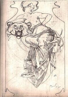 Esquisses et Croquis - Alfons Mucha - Femme aux seins nus