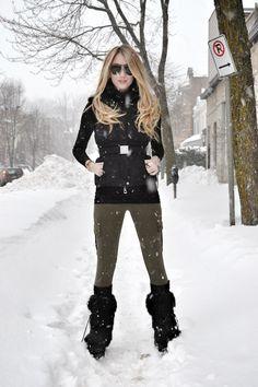 How to wear: black quilted vest, black turtleneck, olive leggings, black fur Hijab Fashion Summer, Snow Fashion, Fashion Black, Fashion Boots, High Fashion, Women's Fashion, Snow Day Outfit, Outfit Winter, Winter Stil