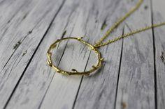 lange Kette Kreis mit Knospen vergoldet Ast Zweig gold von buntezeiten auf Etsy