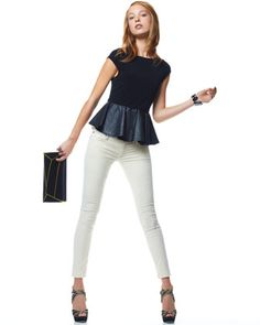 Love this whole outfit---Leather-Peplum Tee & Velvet Super Skinny Jeans  by Alice + Olivia at Neiman Marcus.