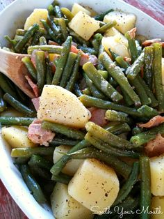 Southern Style Green Beans & Potatoes....cooked low and slow (recipe includes both stove-top and crock pot instructions)