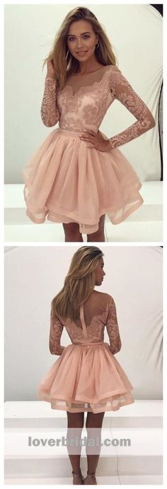 a7984e1acb6 Champagne Lace Long Sleeves Illusion Short Cheap Homecoming Dresses 2018