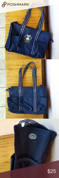 "THIRTY-ONE ZIP-TOP ORGANIZING UTILITY TOTE -navy blue zip-top organizing utility tote -""this teacher gives a hoot"" detail -7 exterior pockets -top zipper closure -10.75""H x 14.5""L x 6.5""D -never used - plenty of life left -comes from a smoke-FREE & pet-FREE home Thirty-One Bags Totes"