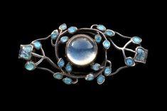 Jessie M. King 1873-1949 (Scottish) Liberty & Co Brooch Silver Gold Enamel Moonstone