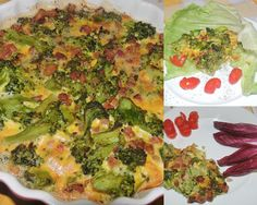frittata with broccoli and bacon cubes, parmesan and eggs, peperoncino and black pepper